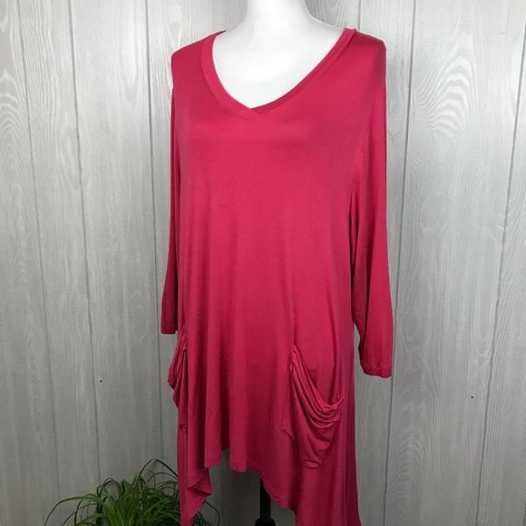 LOGO by Lori Goldstein asymmetrical hem tunic top